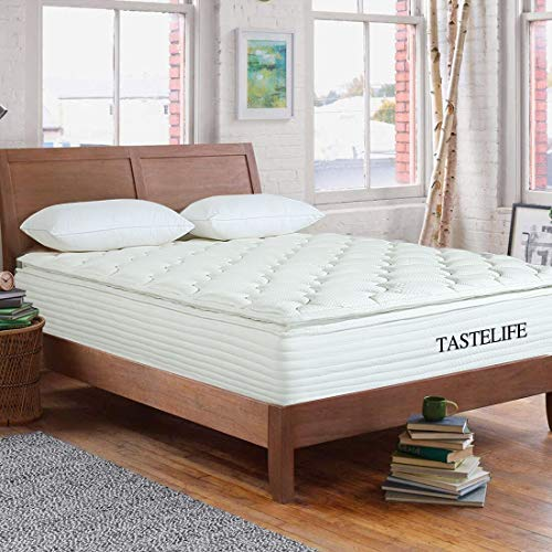 TASTELIFE Queen Bamboo Pillow Top Mattress, 10 inch Innerspring Mattress and Gel Memory Foam Mattress in a Box, Medium-Firm Feel 10-Year Warranty