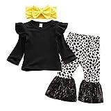 Carolilly Set Kinder Mädchen 3-teilig T-Shirt Langarm Rüschen + Hose mit Pailletten bedruckt Leopardenmuster + Haarband mit Schleife Gr. 6-12 Monate, Schwarz