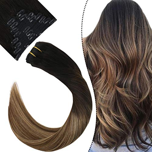 Ugeat -18 inch Brown with Blonde Real Human Clip in Hair Extensions