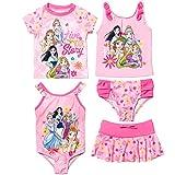 Disney Princess Toddler Girls Swimsuit Set: Rash Guard Tankini Skort One-Piece Pink 2T