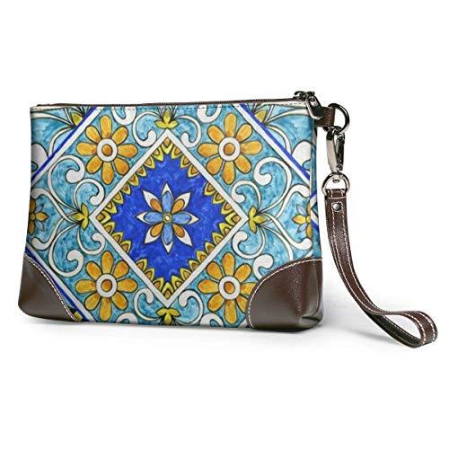GLGFashion Damen Leder Clutch Bag Geldbörsen Italian Majolica Women's Travel Leather Wristlet Clutch Purses Makeup Cosmetic Case Portable Storage Bag Wallet Handbag For Women Girls