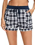Aibrou Pantalones Algodón Cortas de Pijama Verano para Mujer, Pantalon Pijama Corto de Mujer con Bolsillos Pantalones Deportivos para Mujer de Verano,Azul Oscuro,S