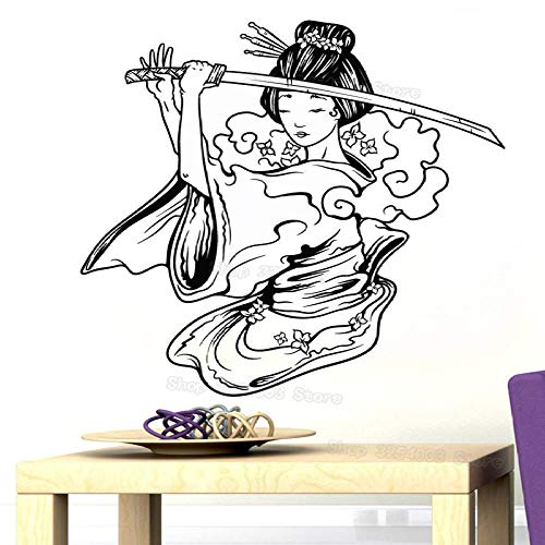 ONETOTOP Samurai Geisha Japonais Samurai Sword Anime Décoration Vinyle Sticker Mural Décoration de La Maison Salon Garçon Fille Chambre Murale 57x60 cm