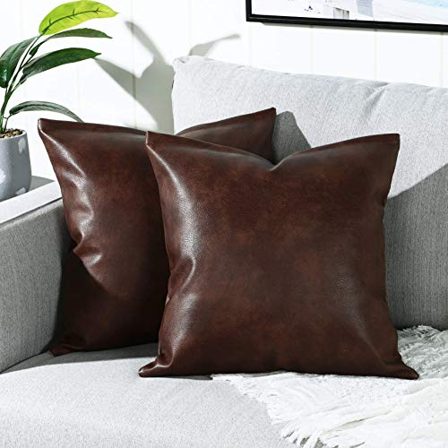 YAERTUN Set of 2 Faux Leather Decorative Throw Pillow Covers Modern Solid Outdoor Cushion Cases Luxury Pillowcases for Couch Sofa Bed 22x22 Inches Dark Brown
