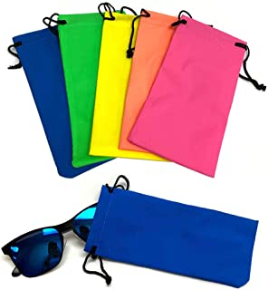 5Pc Microfiber Bag Pouch for Sunglasses Cleaning Soft Case for Eyeglasses Neon