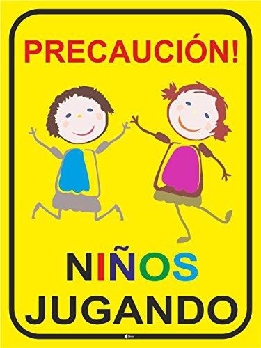 Inscripción ¡Atención! Los niños Jugando Art. Hin_236 (40x60cm), precaución, precaución, Advertencia, información sobre los niños, conduzca despacio