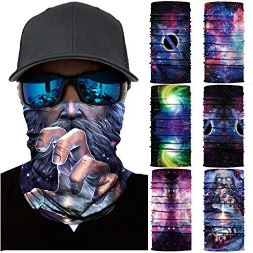 MOTOCO 3/6Pcs Face Shields Bedrucktes Multifunktionstuch Damen Herren Elastische Halstuch Nahtlose Schlauchtuch UV Schutz für Yoga Radfahren Motorradfahren(25X50CM.K6)