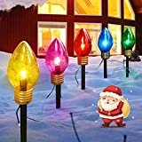 Christmas Lights Jumbo C9 Outdoor Lawn Decorations with Pathway Marker Stakes, 6 Feet C7 String Lights Covered Jumbo Multicolored Light Bulb, for Holiday Time Outside Yard Garden Decor, 5 Lights