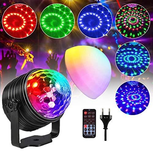 Bola de discoteca LED RGB, luz de discoteca, luz de discoteca, con sonido activado, con mando a distancia, para niños, festivales, cumpleaños, fiesta (1 paquete)