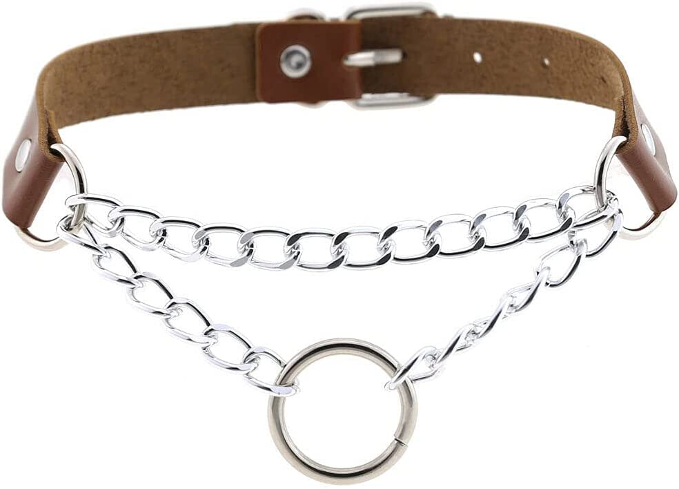 Punk Leather O Ring Pendant Choker Necklace Belt Collar Chain Gothic Jewelry - Brown
