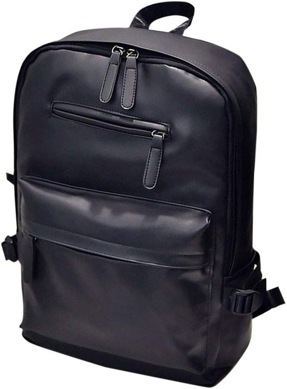 FENICAL Backpack Large Capacity PU Leather Bookbag School College for Men Women (Black)
