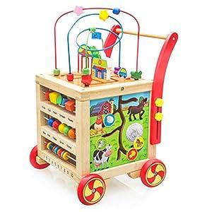 Andador Correpasillos Bebe 7 en 1 Carrito de Primeros Pasos, Andador de Bebé Interactivo Actividad Andadores Juguete Madera Juguetes Bebes Educativos 1 2 3 Año Niña Niño