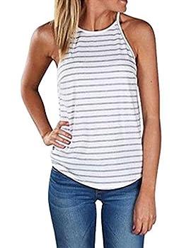 Sherosa Women s Casual Spaghetti Strap Floral Print Tank Tops Camis Shirt  L Grey & White