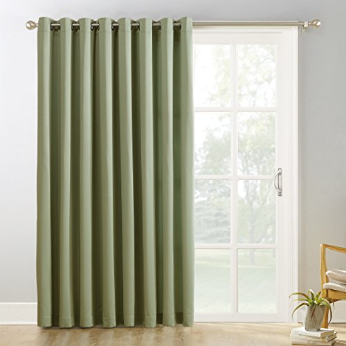 """Sun Zero Easton Extra-Wide Blackout Sliding Patio Door Curtain Panel with Pull Wand, 100"""" x 84"""", Sage Green"""