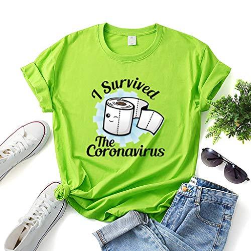 I Investigated Coronavirus, COVID 19 Short Sleeve Fun Men and Women T-Shirts (Color : Green, Size : XL)