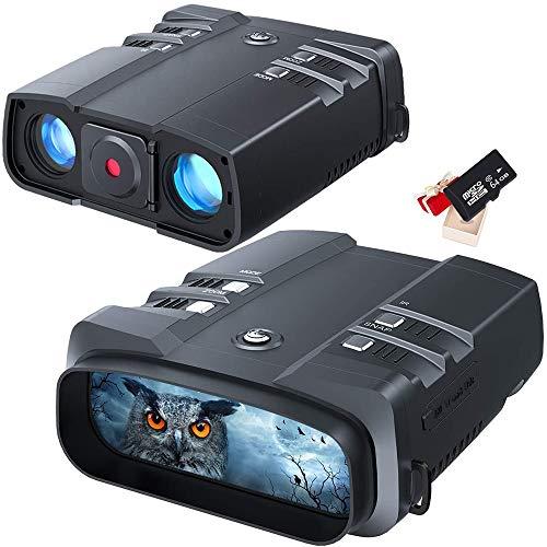 Braveking1 Digitales Nachtsichtgerät 1080p Full HD 1640 ft / 500 m Erkennungsweite Überlegene 5W Infrarot CMOS-Sensor Binokular Nachtsicht mit Hoher Empfindlichkeit mit 64G Speicherkarte