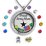 A Touch of Dazzle Army Mom Navy Mom Air Force Mom Jewelry 30mm Floating Locket Charm Necklace for Women Silver