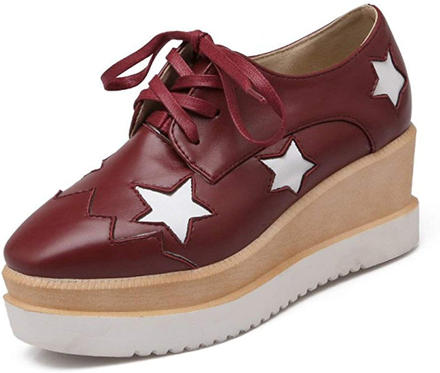 Unm Women's Casual Star Square Toe Thick Sole Platform Sneakers Dress Wedge Mid Heel Lace Up Oxfords shoes