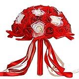 CIELLTE Bouquet de Mariage Demoiselle d'honneur Roses Dentelle Cristal Fleurs Artificielles en Soie Nuptiales