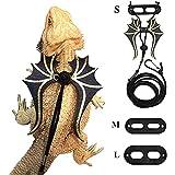 Yumi V Bärtige Drachengeschirr Leine Leder mit Flügeln Verstellbare Ledergeschirrleine für Echsenreptilien, Bartagame, Amphibien und Andere Kleine Heimtiere