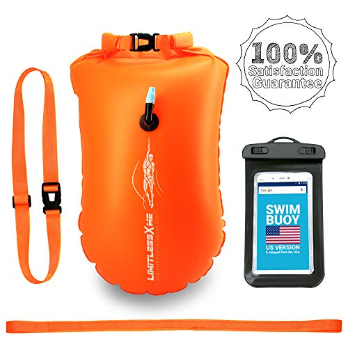 LimitlessXme Swim Buoy & Drybag - Safety for Swimmers, Open Water and Triathlon. Pull Buoy for Adults and Kids. Orange Signal Swimming Bubble