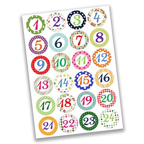 Papierdrachen 24 Adventskalender Zahlen Sticker - bunte Zahlen Nr 03 - Aufkleber 4 cm - zum Basteln und Dekorieren
