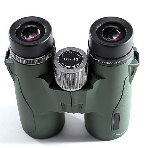 Binoculares para adultos, prismáticos profesionales 10X42 Nitrógeno Binoculares portátiles a prueba agua Bak4 Prism Optics HD Telescopio zoom alta potencia para acampar Senderismo Viajes Caza Observ