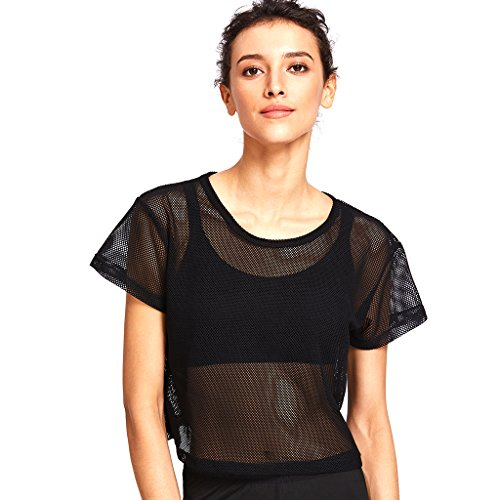 Baoblaze Damen Mesh Netz Shirt Transparent Sport T-Shirt Fitness Gym Yoga Tank Top - Schwarz, S