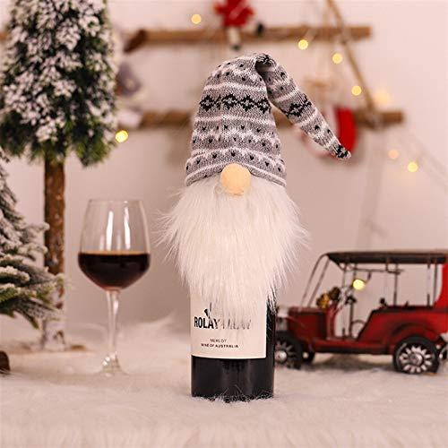 Decoraciones de Navidad Feliz Navidad Vestido Falda Botella de vino Cubierta para decoración del hogar 2020 Regalos de Navidad Navidad Año Nuevo 2021 Decoración Decoraciones de Navidad (Color: Rojo)