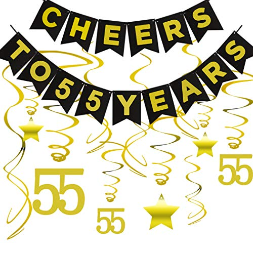 55th BIRTHDAY PARTY DECORATIONS KIT - Cheers to 55 Years Banner, Sparkling Celebration 55 Hanging Swirls, Led Light String, Perfect 55 Years Old Party Supplies 55th Anniversary Decorations