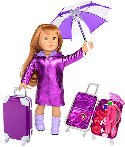 iBayda 11 Lots Purple Travel Suitcase with Doll Clothes Accessories for 18 inch American Girl Dolls Include 1 Long Coat, 1 Umbrella, 1 Shoes, 7 Mini Make Up Toys and A Luggage