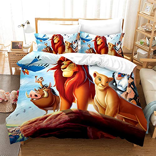 NOOS Cartoon Lion Bear Duvet Cover Set King Size, 3D Cartoons Animal Bear and Lion King Bedding Best Gift for Kids, Soft Microfiber Bed Set 3PCS(1 Duvet Cover,2Pillowcases) No Comforter Inside