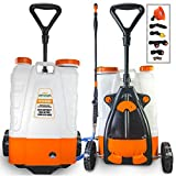 PetraTools 4 Gallon Battery Powered Backpack Sprayer with Cart – Extended Spray Time Long-Life Battery - New HD Wand Included, Wide Mouth Lid, Multiple Nozzles & Battery Included