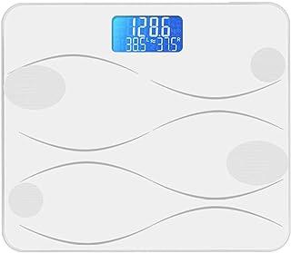 LTLHXM Báscula Inteligente, Báscula de Baño Digital Bluetooth Android iOS Báscula Grasa Corporal y Muscular Monitor de Composición Corporal,Blanco