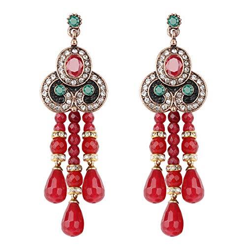 Orecchini in pietra naturale rossa per donne d'oro oro nero smalto cristallo goccia orecchini etnici vintage di nozze gioielli