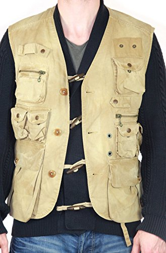 Polo by Ralph Laure Gilet Uomo Pescatore Caccia Esercito Cacciatore - cotone, beige, 100% cotonenfarbe 100% cotone, Uomo, S