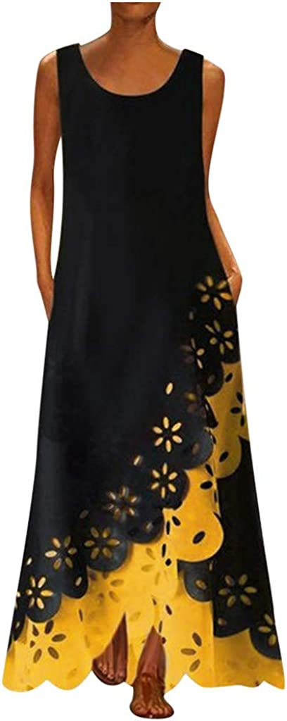 GCETTIC Maxi Dresses for Women,Womens Casual Summmer Peacock Printed Maxi Long Dress Sleeveless Sundress Beach Party Dress