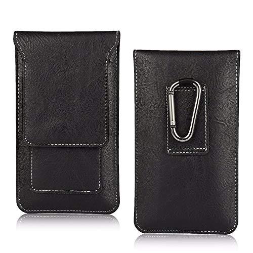 AXELENS Custodia Universale a Sacchetto Porta Cellulare con Passante Cintura per iPhone Samsung Huawei Xiaomi Nokia in Simil Pelle Ecopelle per Smartphone Fino a 5.1 Pollici - Nero Taglia L