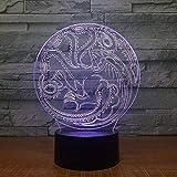 ilusión 3D lámpara para habitación infantil Throne Memorial Dragon Rush Juego ideal como regalo de cumpleaños para niños, niños y hombres Con interfaz USB, cambio de color colorido