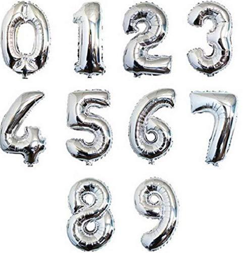 Ideapark - Globos metálicos; globos foil de números de 40,6 cm, dígitos del 0 al 9 para inflar con aire, para fiestas de cumpleaños, prenatales, bodas, Plateado, 40cm*40cm