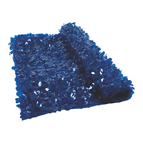 Dark Navy Blue Floral Sheeting Backdrop (3 ft. x 15 ft) For Weddings and Parties