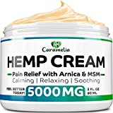 Hemp Oil Cream for Pain Relief 5000 - Grown & Made in USA - Verified Hemp Oil - Ultimate Hemp Power - Anti Inflammatory Formulation - Helps with Joint, Back, Knee, Arthritis Pain & Joint Support