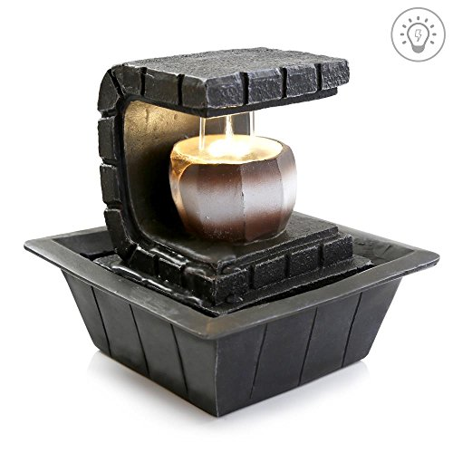 SereneLife 2-Tier Water Fountain Decoration - Cool Indoor Outdoor Portable Electric Tabletop Decorative Zen Meditation Waterfall Decor Kit w/LED, Submersible Pump, and Adapter - SLTWF35LED