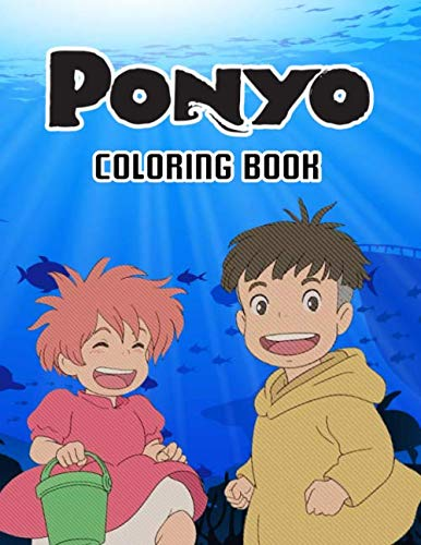 Ponyo Coloring Book: 50+ High Quality Coloring Pages. Studio ghibli coloring book - Cute Character - For kids - Beautiful Coloring pages - Learn and Fun with Big Images