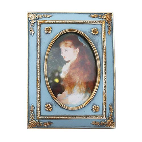 Vintage Picture Frame antieke tafelblad en Wall Opknoping fotolijst met glazen pui for Decor van het Huis (Color : Blue, Size : 6inch)