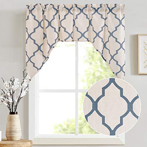"Valance Swag Moroccan Tile for Bedroom- Quatrefoil Flax Linen Blend Textured Geometry Lattice Print Window Treatment for Living Room 1 Panel 38"" L Blue"
