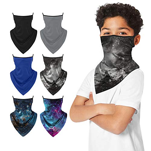 6 PACK Kids Neck Gaiter Ear Loops Face Mask Triangle Covering Bandana Balaclava Scarf Reusable Sun Protection Sport Outdoor
