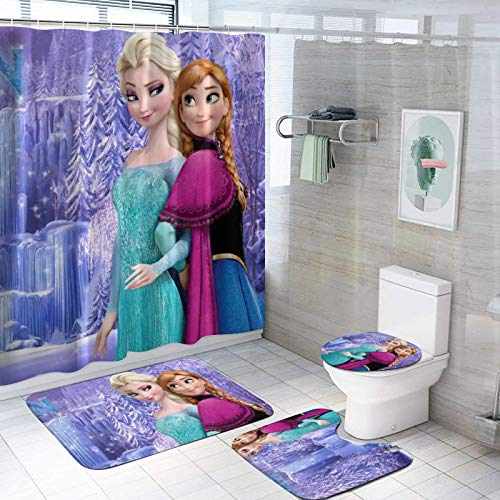 Fro-Zen Shower Curtain Set Non-Slip Bath Rug Mat Toilet Lid Cover Contour Mat Waterproof Bath Curtain with 12 Hooks for Bathroom Bathturb Decor