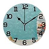 Tabla de surf azul silencioso, fácil de leer, funciona con pilas, reloj de pared redondo para decoración del hogar, sala de estar, cocina, dormitorio, oficina, escuela