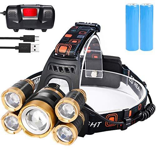 flintronic LED Linterna Frontal, 4 Modos Recargable Linternas Frontales, Linternas LED alta Potencia 6000K 1600LM Impermeable para Camping, Excursión, Pesca, Carrera, Ciclismo